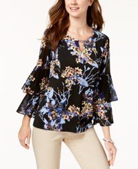 Jm Collection Printed Double Bell Sleeve Top Exotic Garden