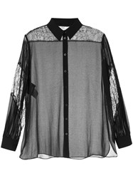 Boutique Moschino Sheer Lace Detail Shirt Black