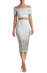 Dress The Population Women's Sequin Two Piece White Silver Ombre