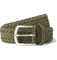 Andersons 3.5Cm Green Woven Suede Belt