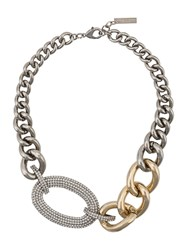 Ermanno Scervino Crystal Chain Link Necklace Silver