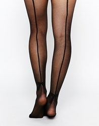 Pieces Tights With Bow Seam Detail Black