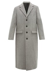 Joseph Single Breasted Wool And Cashmere Blend Overcoat Grey