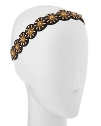 Deepa Gurnani Sun Circle Embellished Headwrap Gold Black