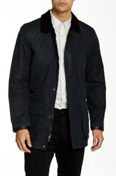 Vince Camuto Wax Cotton Leather Trimmed Barn Coat Blue