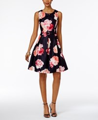 Jessica Howard Petite Floral Print Fit And Flare Dress Navy Coral Multi