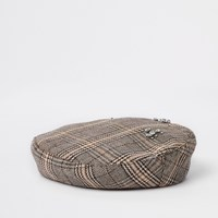 River Island Brown Check Diamante Embellished Beret