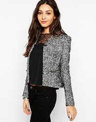 Glamorous Tweed Blazer With Zips Blackwhitetweed