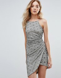 Girls On Film Lace Dress With Ruched Side Multi