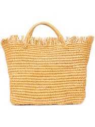 Sensi Studio Woven Frayed Hem Tote Nude And Neutrals