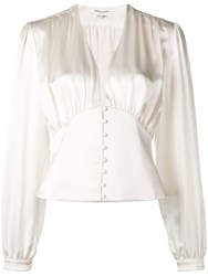 Saint Laurent Draped Blouse White