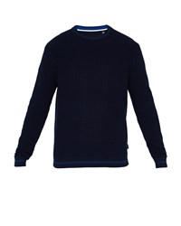 Ted Baker Men's Toxic Ls All Over Stitch Crew Neck Blue