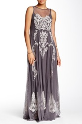 Biya Embroidered Lace Maxi Dress Brown
