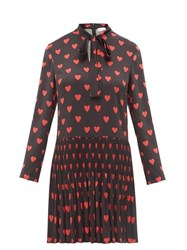 Red Valentino Redvalentino Heart Print Pussy Bow Crepe Dress Black Multi