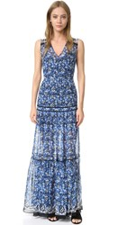 Veronica Beard Tecater Tiered Maxi Dress Blue