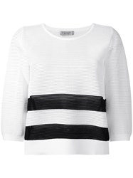 D.Exterior Ribs Detail Striped Top White