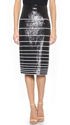 Alice Olivia Rue Sequin Stripe Pencil Skirt Black White