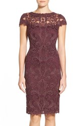 Tadashi Shoji Women's Illusion Yoke Lace Sheath Dress Blackberry