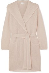 Max Mara Leisure Hooded Mohair Blend Cardigan Beige