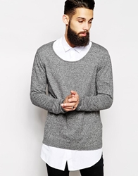 Asos Scoop Neck Jumper In Cotton Blacktwist