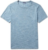 Club Monaco Space Dyed Knitted Cotton T Shirt Light Blue