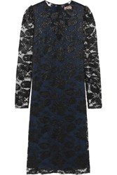 Lanvin Metallic Floral Lace Dress Black