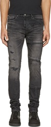 Miharayasuhiro Black Faded And Patched Jeans