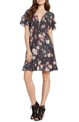Willow And Clay Floral Ruffle Ruffle Minidress Steel