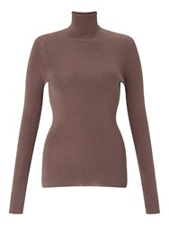 Jigsaw Silk Cotton Polo Neck Sweater Mink