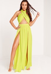 Abad X Missguided Halter Neck Maxi Beach Dress Green Green