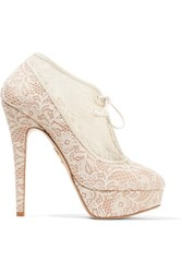 Charlotte Olympia Minerva Leather Trimmed Satin And Lace Ankle Boots Ivory