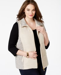 Styleandco. Style And Co. Sport Plus Size Marled Trim Vest Only At Macy's White Truffle