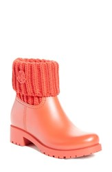 Moncler Women's 'Ginette' Knit Cuff Leather Rain Boot Red