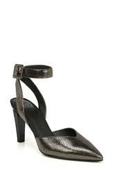 Franco Sarto By Santi Ankle Strap Pump Pewter Leather
