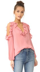 Alice Olivia Gia Ruffle Cold Shoulder Blouse Dusty Rose