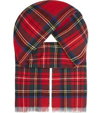 Johnstons Double Faced Tartan Houndstooth Wool Cashmere Scarf Dress Stewart Glencheck