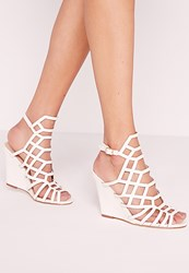 Missguided Laser Cut Wedge Sandal White White