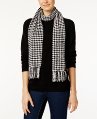 Charter Club Houndstooth Chenille Woven Scarf Only At Macy's Black White