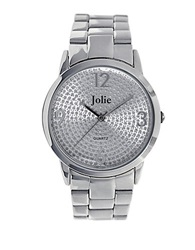 Jolie Ladies Silvertone Watch With Crystallized Dial