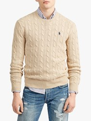 Ralph Lauren Polo Long Sleeve Cable Knit Jumper Oatmeal Heather