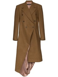 Y Project Asymmetric Double Breasted Coat Brown