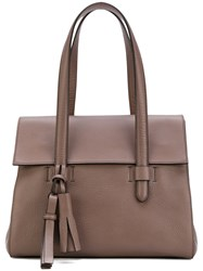 Max Mara Fold Over Shoulder Bag Leather Nude Neutrals