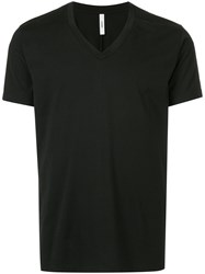 Attachment Classic Fitted V Neck T Shirt Black