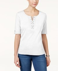 Karen Scott Lace Up Cotton T Shirt Only At Macy's Bright White
