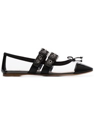 Miu Miu Black Buckled Strap Pvc Leather Flat Pumps