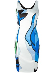 Iceberg Abstract Print Fitted Dress Black