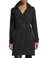 Vera Wang Lucy Lace And Satin Combo Trenchcoat Black