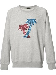 Marc Jacobs Sequin Embroidered Palm Tree Sweatshirt Grey