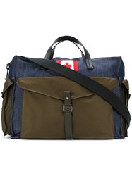 Dsquared2 Canadian Patch Holdall Men Cotton Calf Leather One Size Green
