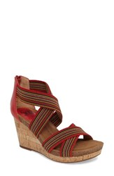 Sofft Women's Cary Cross Strap Wedge Sandal Fire Red Red Multi Leather